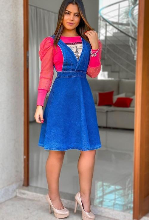 Salopete jeans Feminina midi moda evangélica
