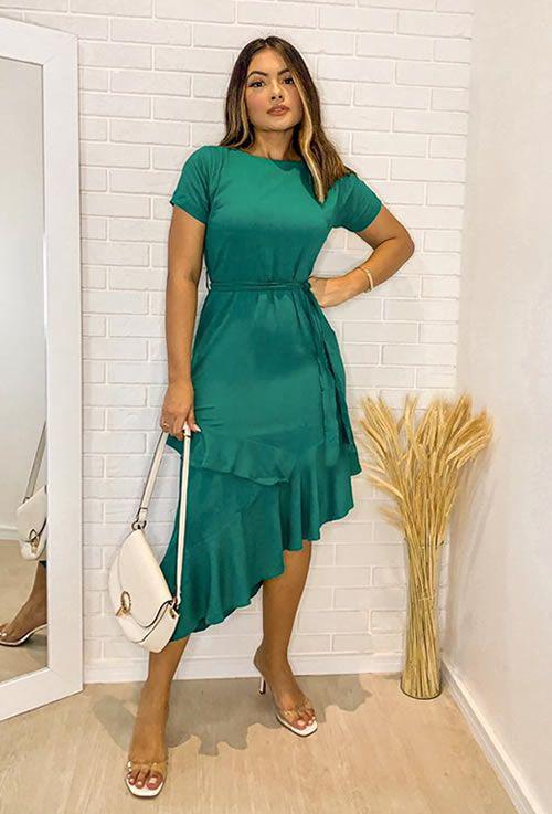 Vestido Assimetrico Verde