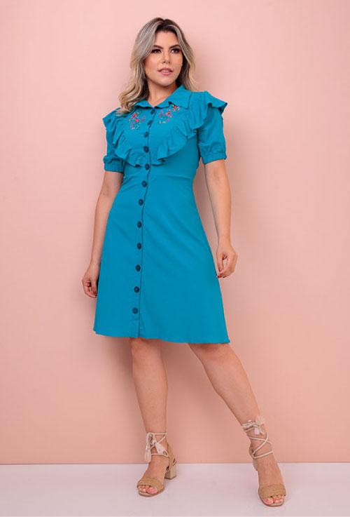 Vestido evangélico Amanda com bordado azul
