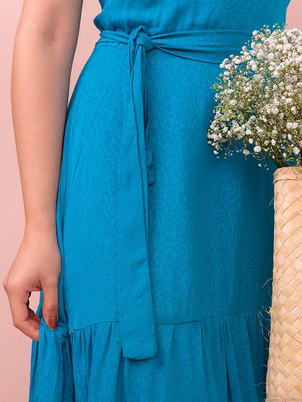 Vestido longo Carolina Viscose Sarjada azul moda evangélica