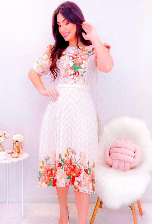 Vestido plissado florido