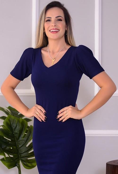 Vestido tubinho midi azul marinho