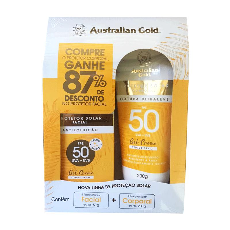 KIT PROTETOR SOLAR FACIAL FPS 50 +  CORPORAL FPS 50 AUSTRALIAN GOLD - 2430