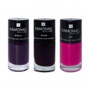 Kit Esmalte cremoso Ramona Cosméticos Marsala+ Pink+ Blueberry 10ml