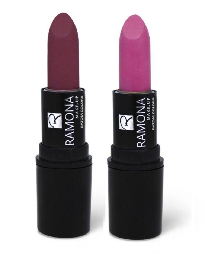 Kit Batom Colors Bastão Nº03 Ameixa + Nº11 Rosa Nude