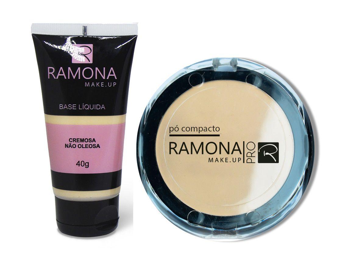 Kit Ramona Cosméticos Base Líquida Nº1Clara + Pó Compacto Nº1Translúcido