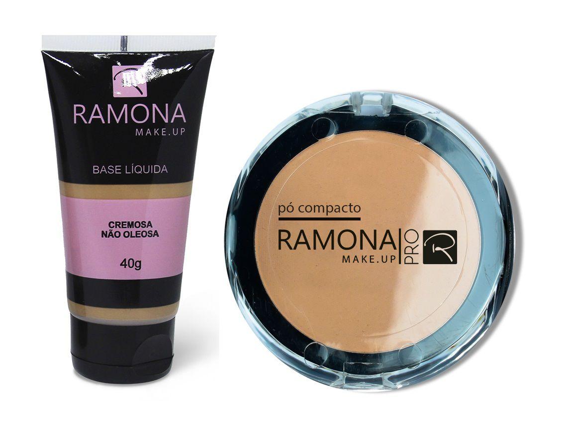 Kit Ramona Cosméticos Base Líquida Nº4 Escura + Pó Compacto Nº4 Bege Rose