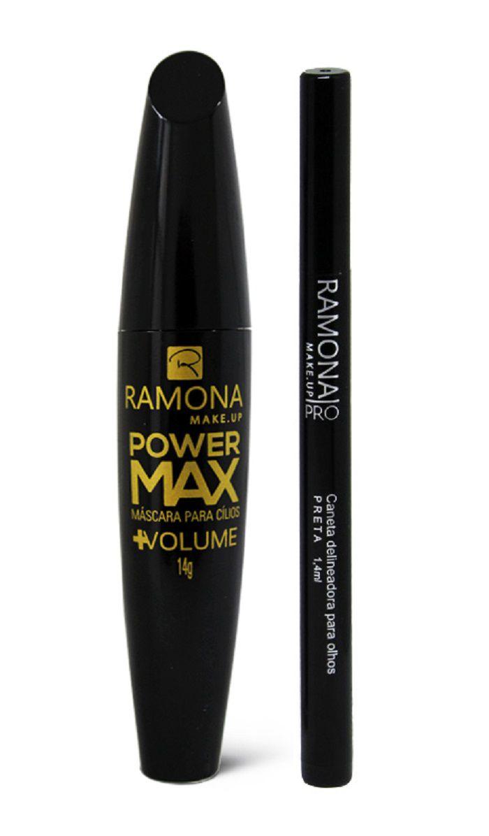 Kit Ramona Cosméticos Caneta Delineadora Carbon Black + Máscara Power Max Volume