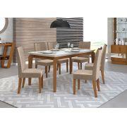 Mesa de Jantar DJ Rouge 6 Cadeiras com Tampo de Vidro 170x90cm