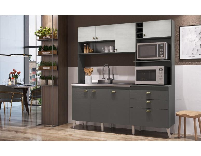Cozinha Compacta Casamia Donna Grafite Touch/Snow