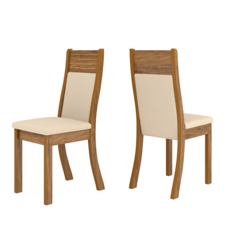 Mesa Viero Firenza Tampo de Vidro Chanfrado com 6 Cadeiras