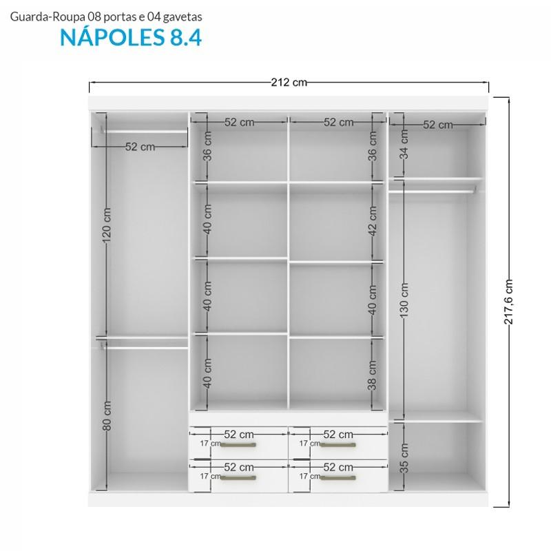 Roupeiro Santos Andira Nápoles 8 Portas 4 gavetas - MONTAGEM GRÁTIS P/ BLUMENAU