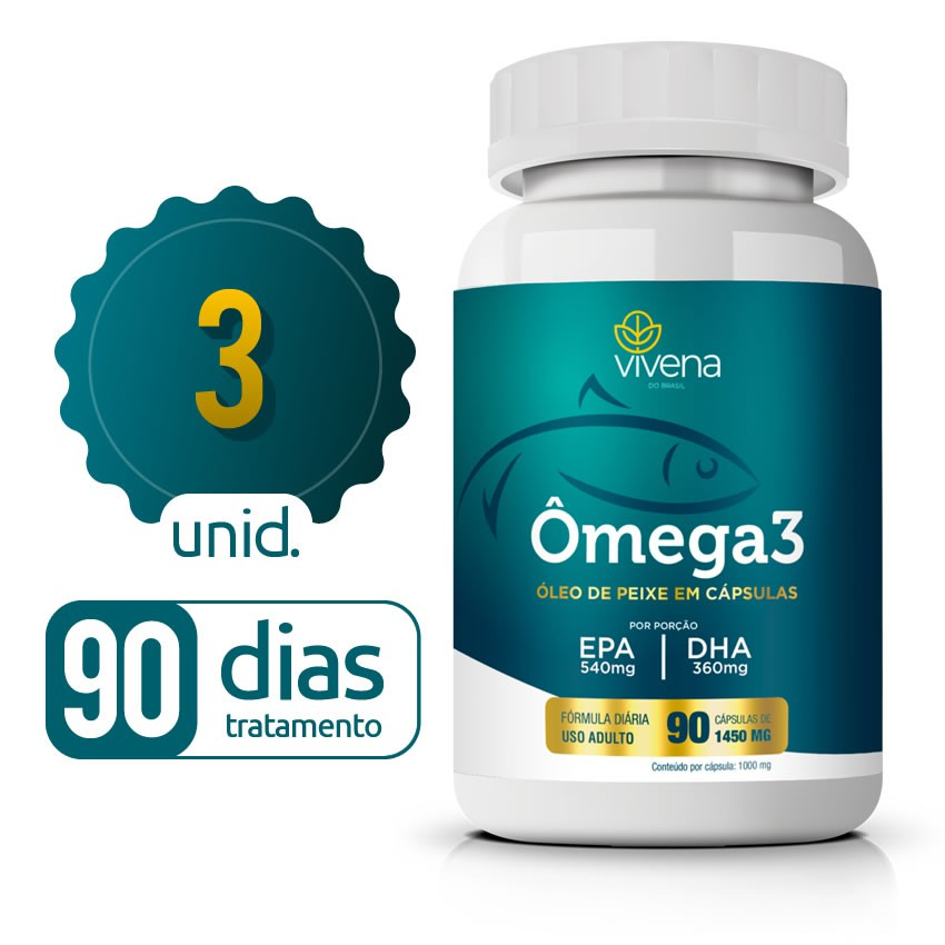 Omega 3 - 03 Frascos - 90 dias de tratamento