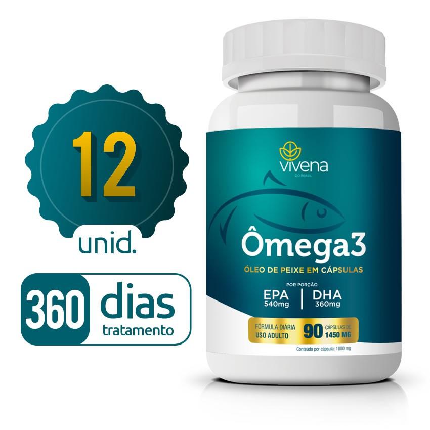 Omega 3 - 12 Frascos - 360 dias de tratamento