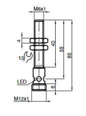 Sensor Indutivo M8, Sn 1,5mm (faceado), 10-30 VDC, PNP, NA, IP67, Frequência 1500 Hz