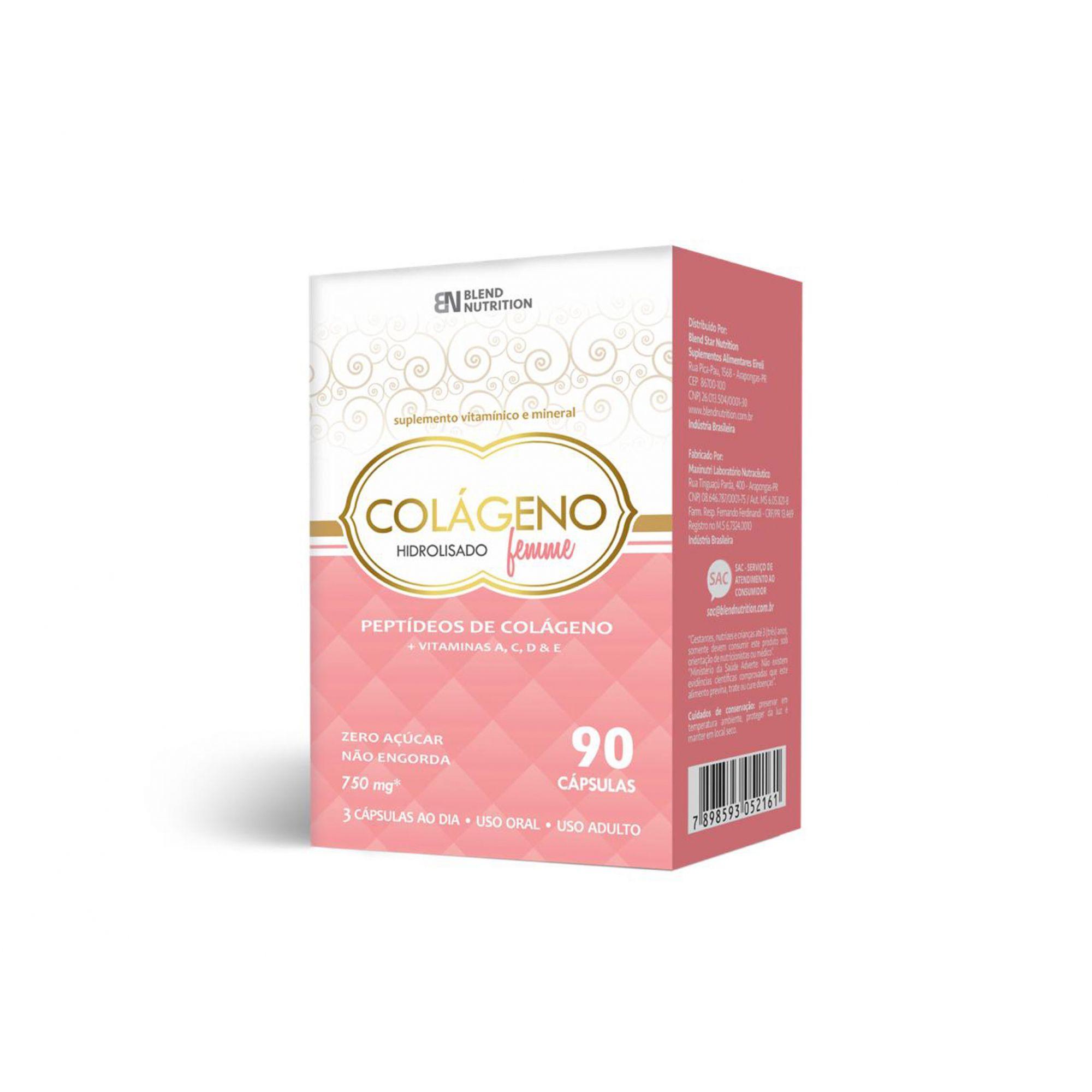 Colágeno Hidrolisado Femme Vitaminas e Minerais 90 Cápsulas