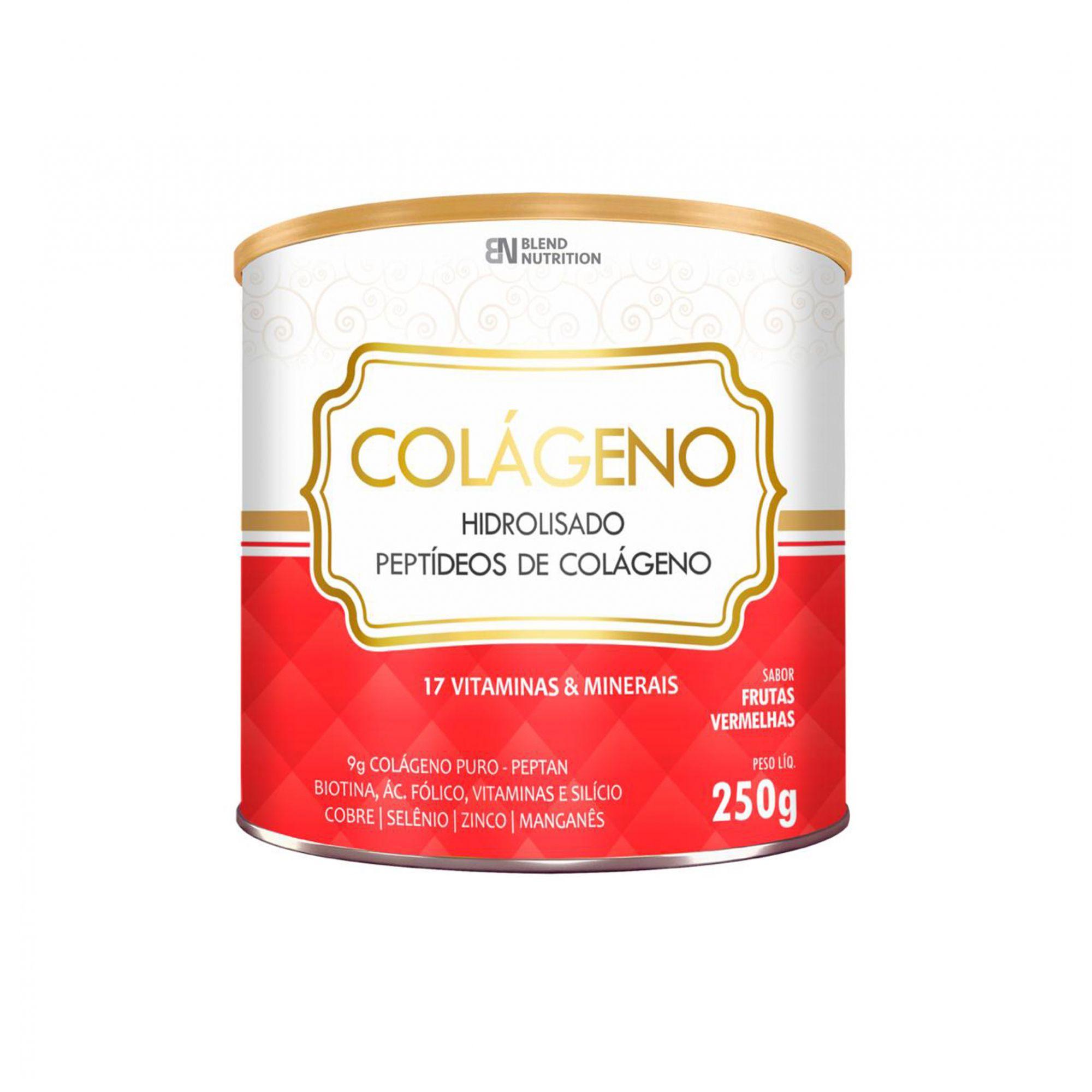 Colágeno Hidrolisado Peptídeos 17 Vitaminas e Minerais 250g