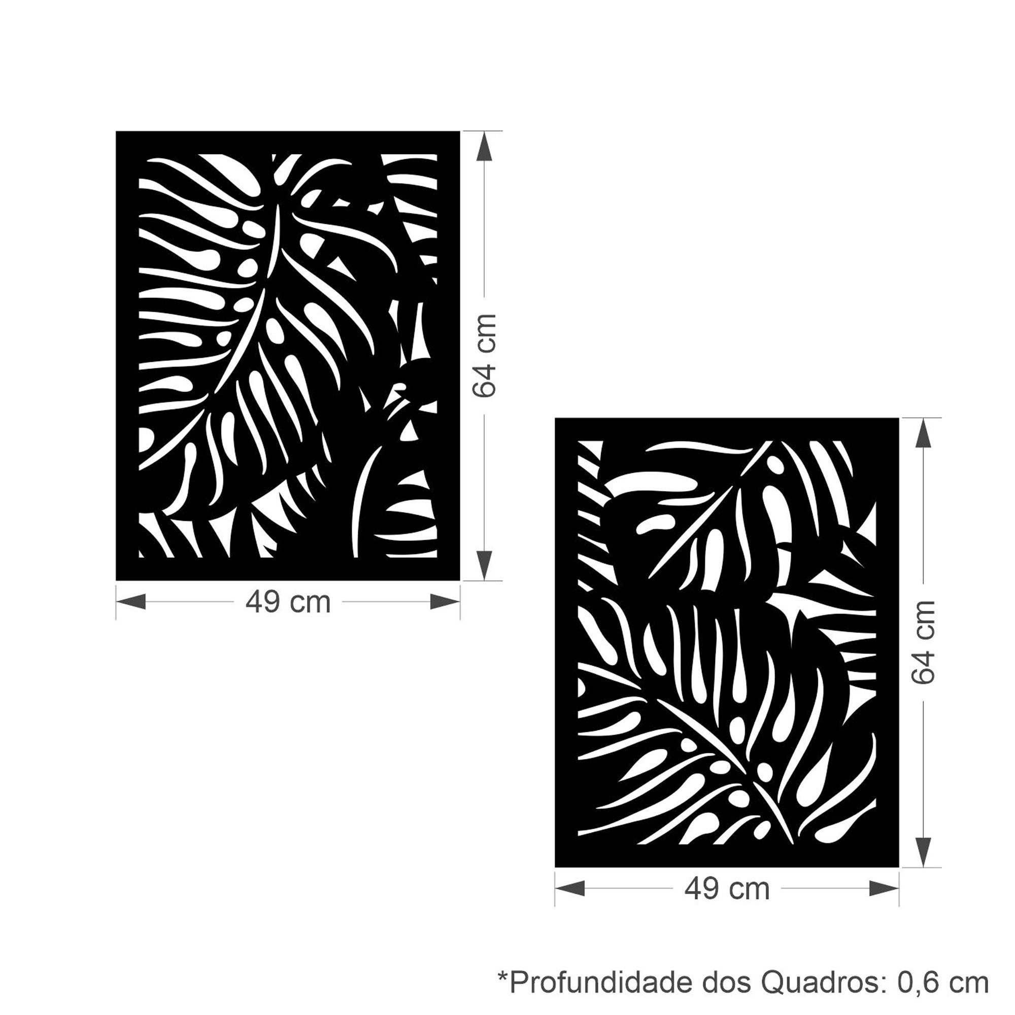 Quadro Decorativo MDF Costela de Adão 2 Pçs Amora Shop Conforto