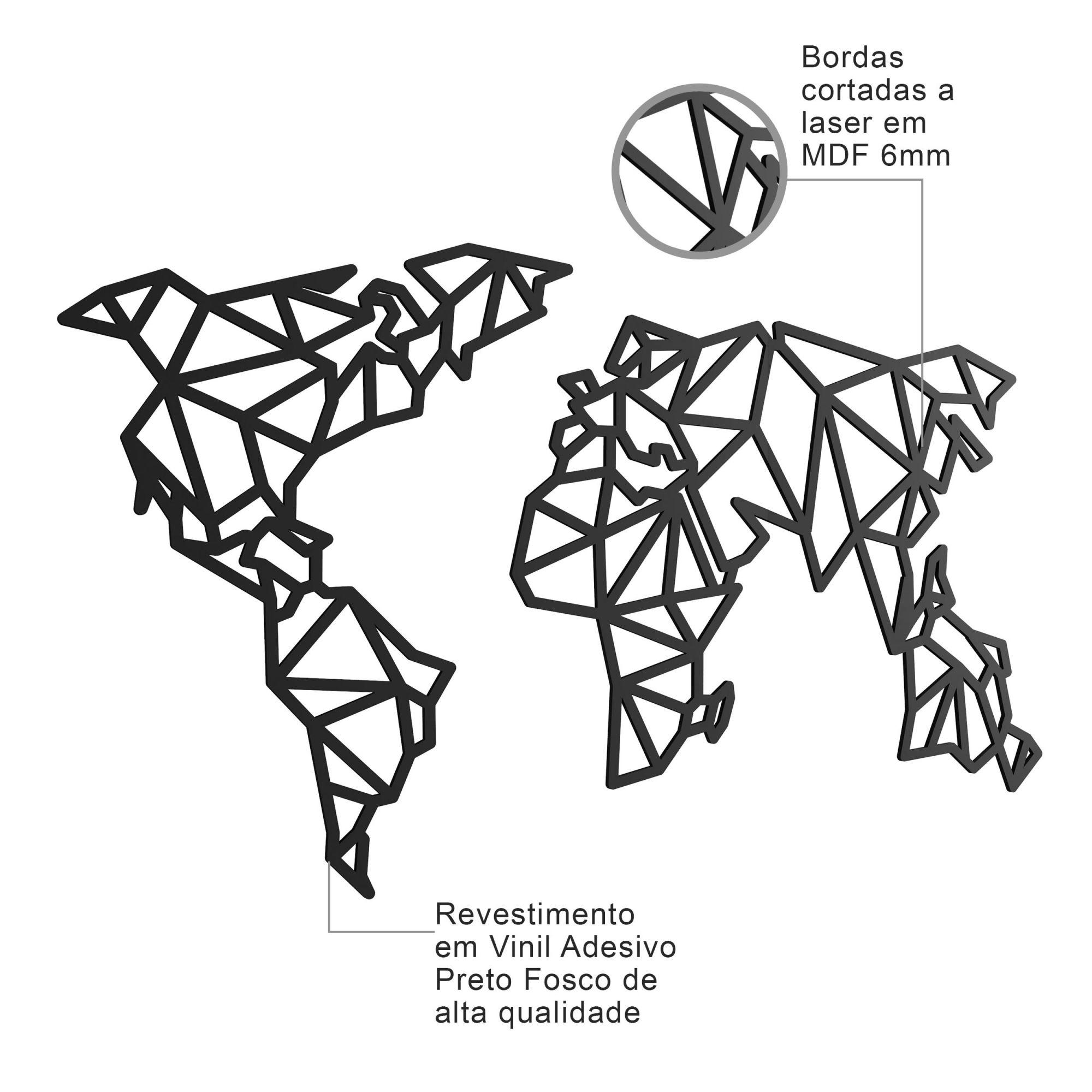 Quadro Decorativo MDF Mapa Mundi Poligonal 2 Pçs Sara Shop Conforto
