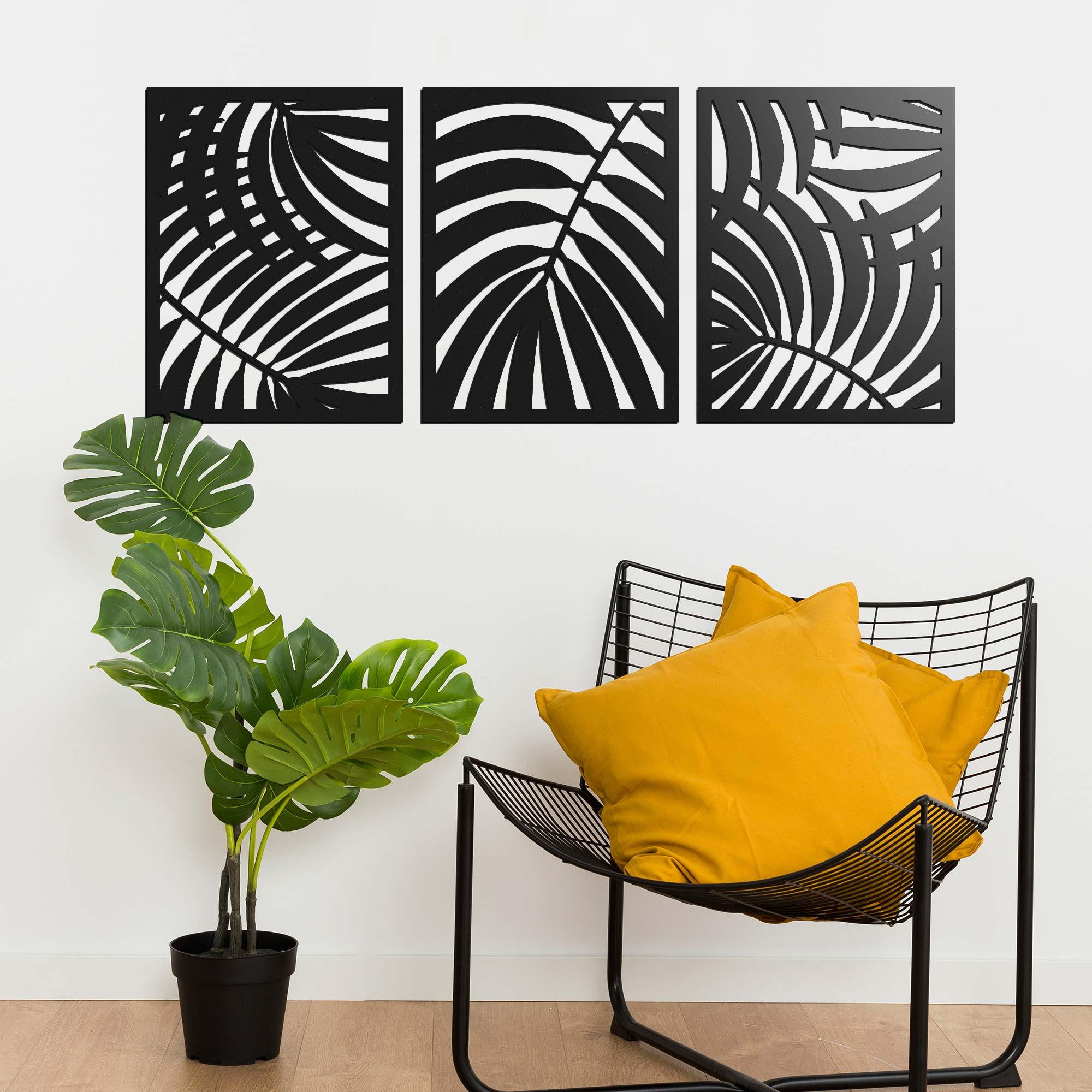 Quadro Decorativo MDF Tropical 3 Pçs Mariana Shop Conforto