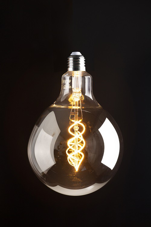 LAMPADA FILAMENTO DE LED ESFERA VIDRO SMOKY TAMANHO GRANDE  110 V