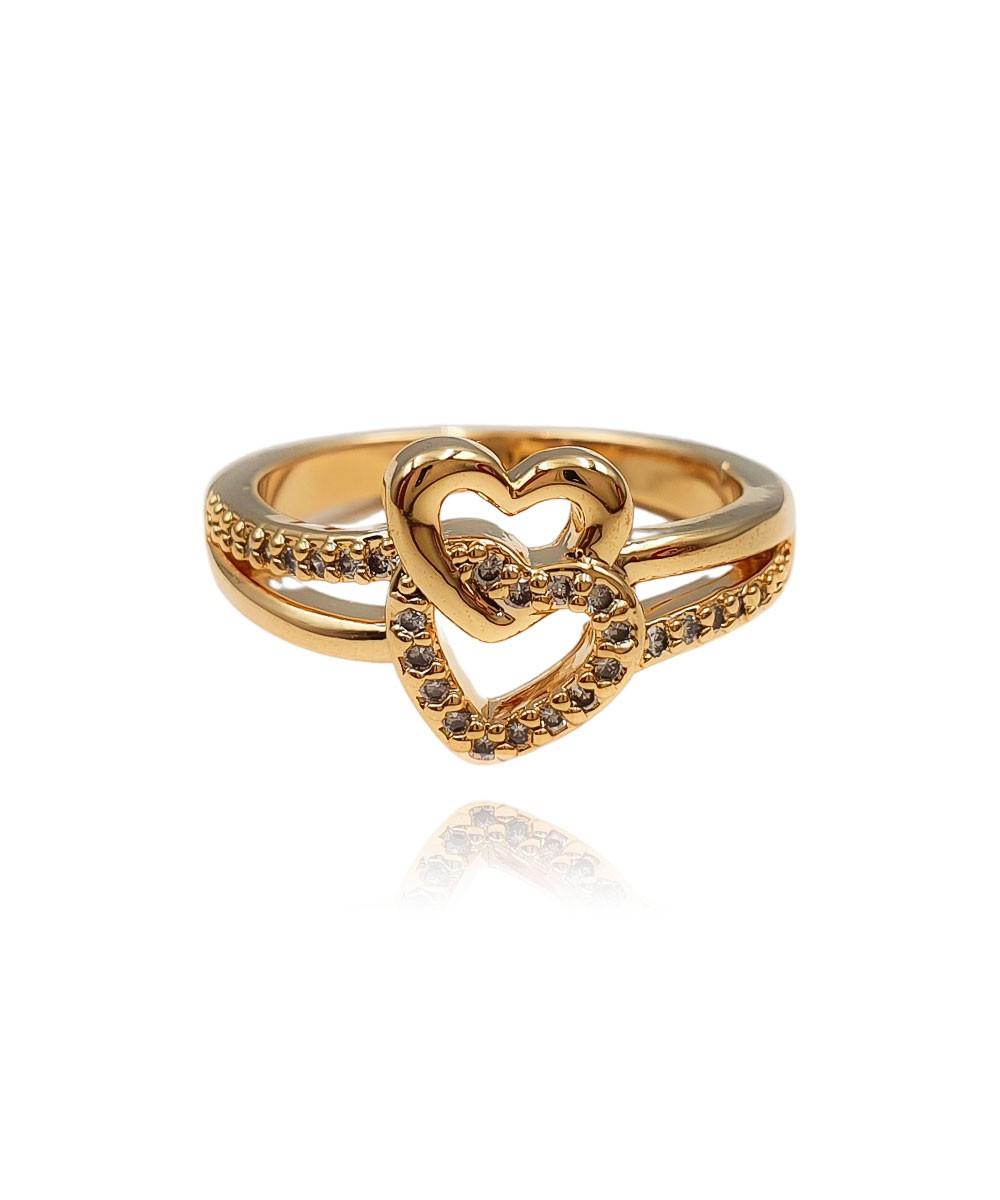 Anel de Zircônia Coração Duplo Banhado à Ouro
