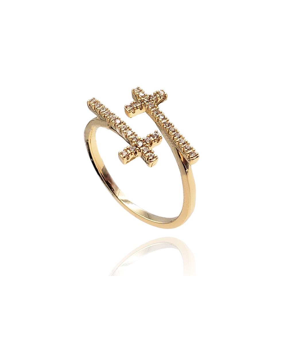 Anel de Zircônia Crucifixo Banhado à Ouro Regulável