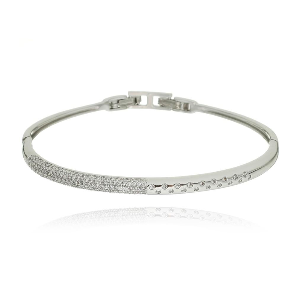 Bracelete Zirconia Ródio Branco