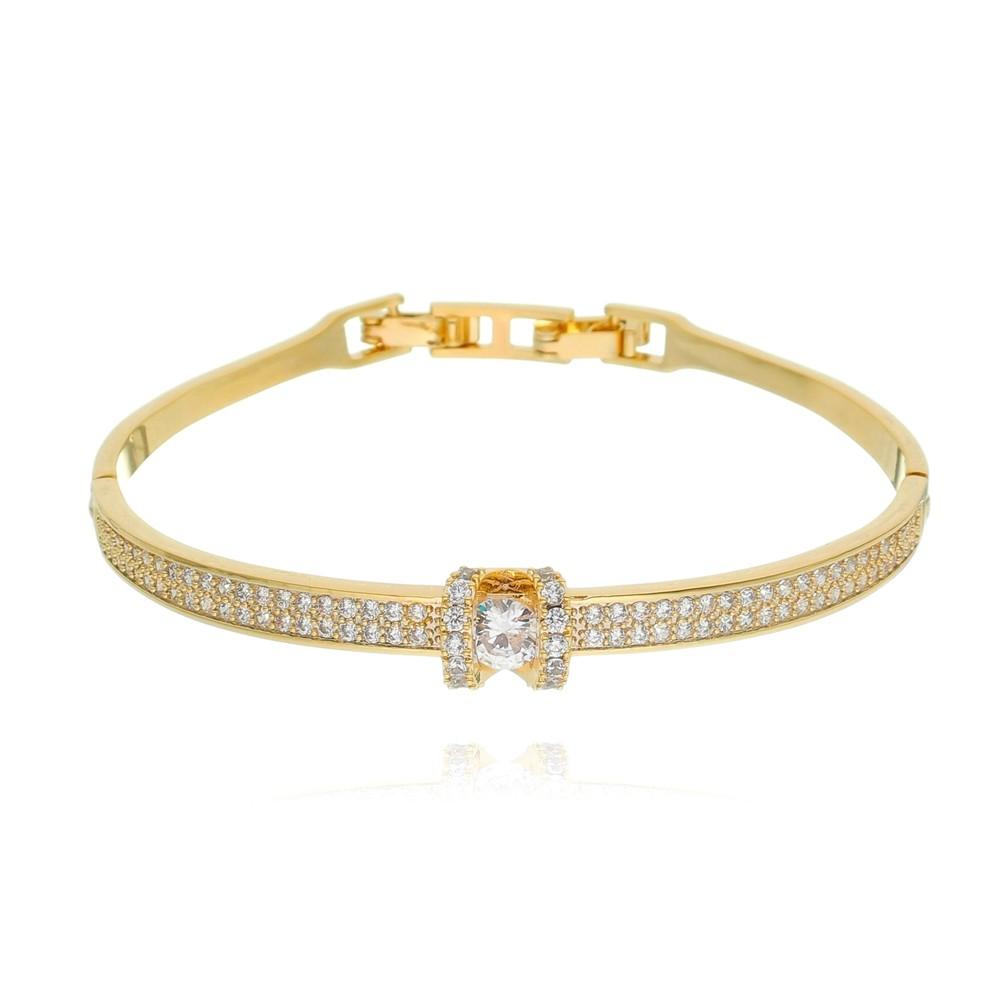 Bracelete de Zircônia Banhado à Ouro