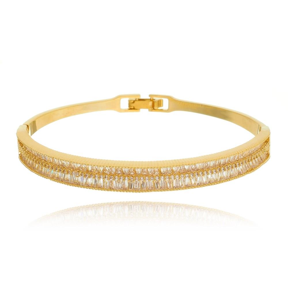 Bracelete de Zircônia Baguete Banhado à Ouro