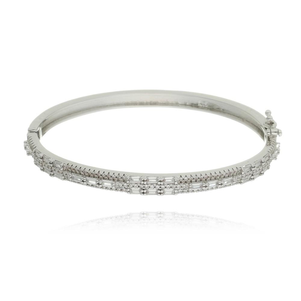 Bracelete Zirconia Baguete Ródio Branco
