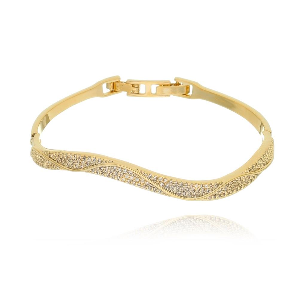 Bracelete de Zircônia Ondulado Banhado à Ouro