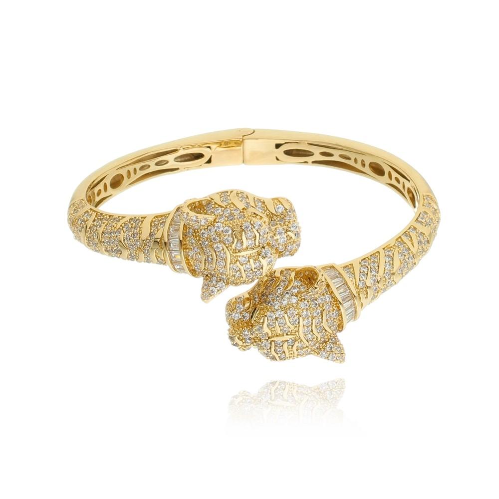 Bracelete de Zircônia Tigre Banhado à Ouro