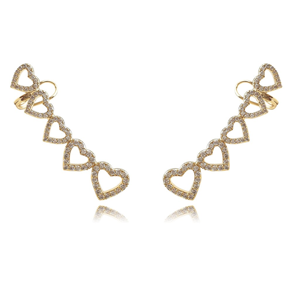 Brinco Ear Cuff Zircônia Coração Banhado à Ouro