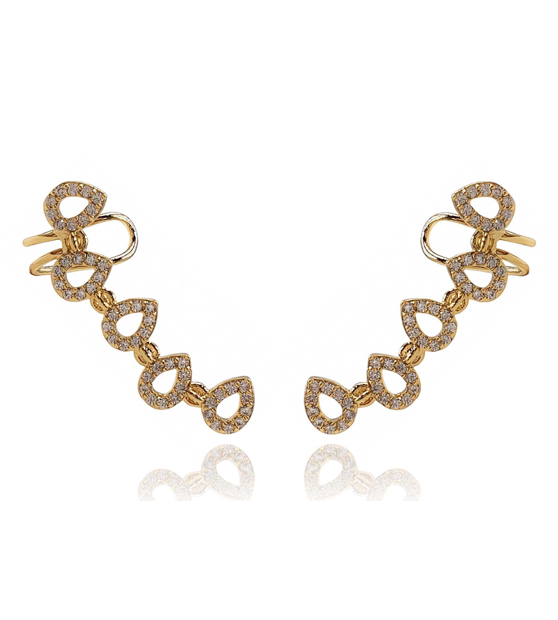 Brinco Ear Cuff Zircônia Gotas Banhado à Ouro