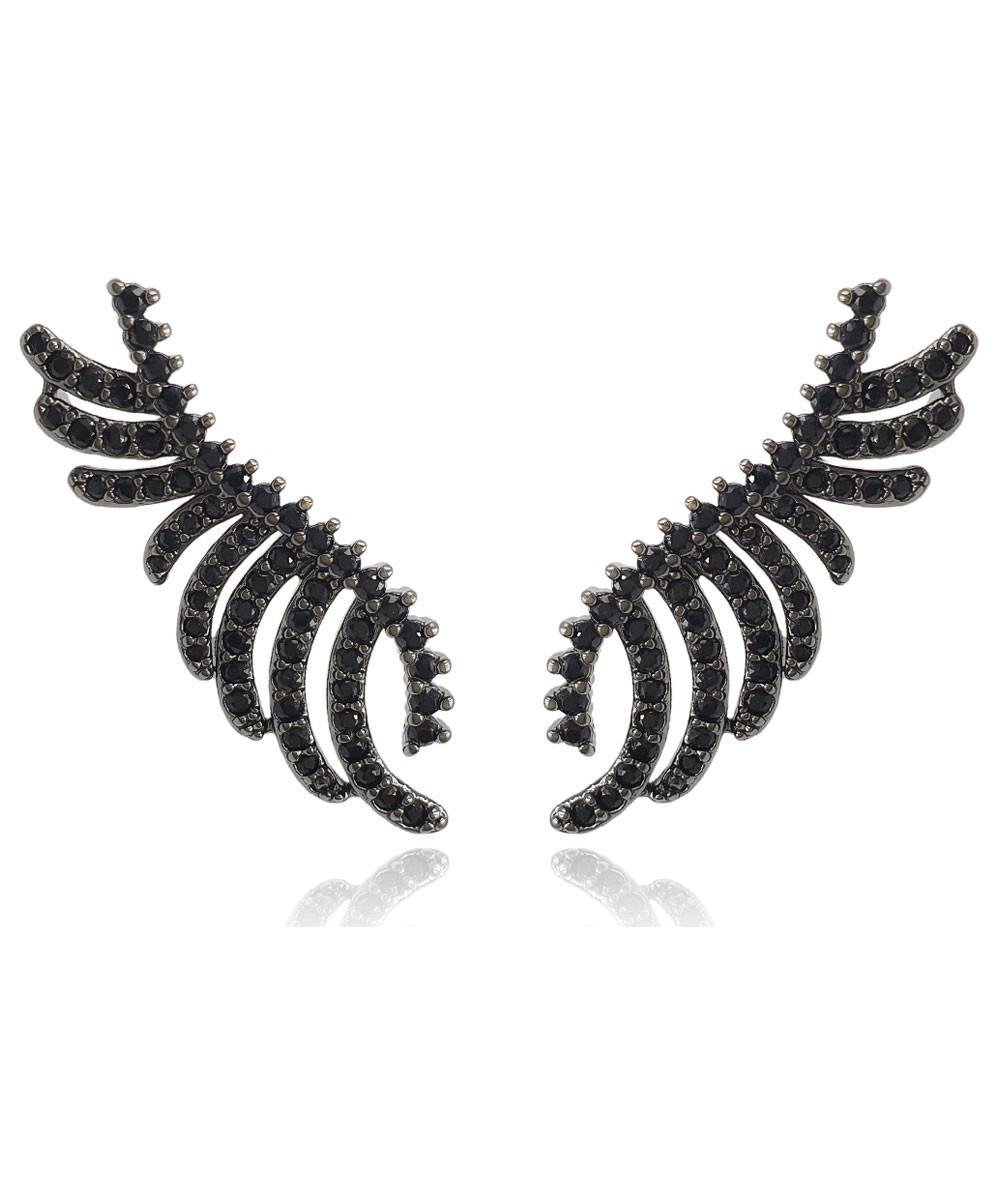 Brinco Ear Cuff Zircônia Ródio Negro