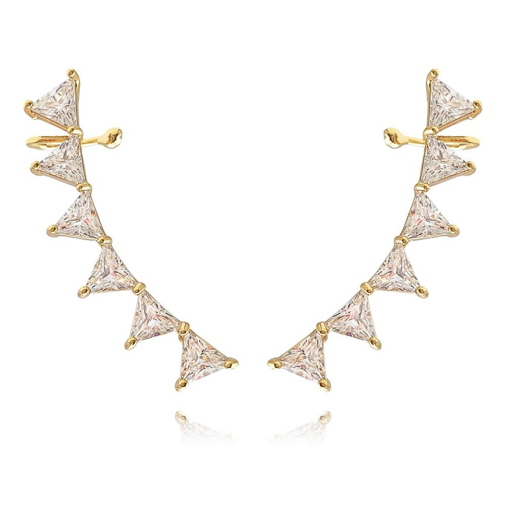 Brinco Ear Cuff Zircônia Triângulos Banhado à Ouro