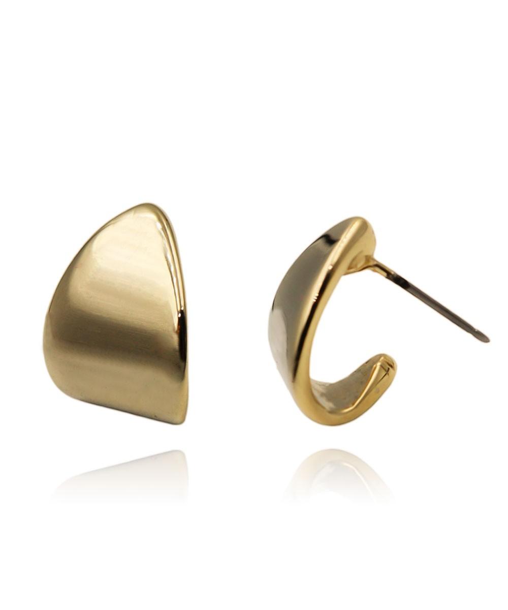 Brinco de Metal Argola Pequena Lisa Banhado à Ouro
