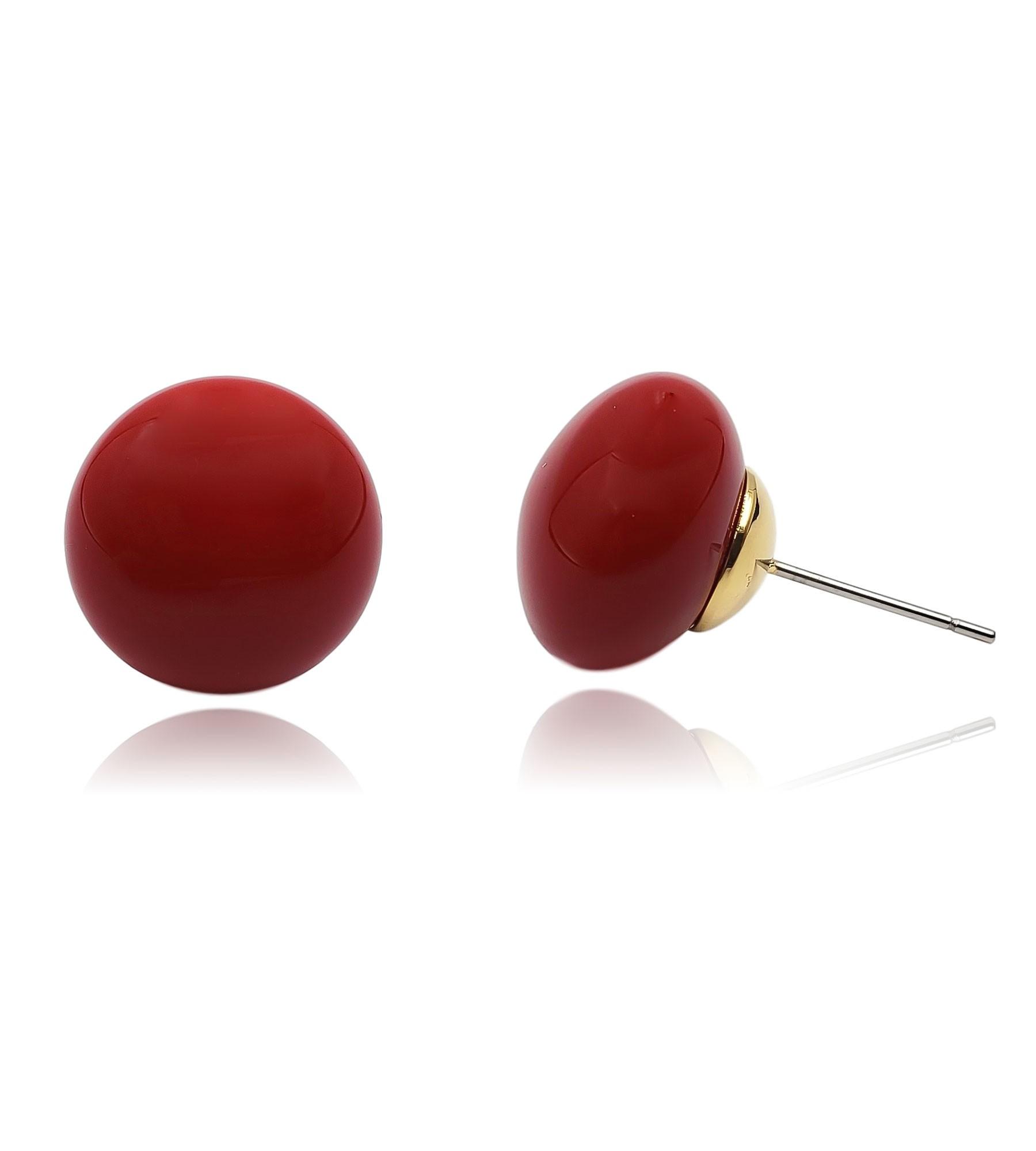 Brinco Metal Botão Vermelho G