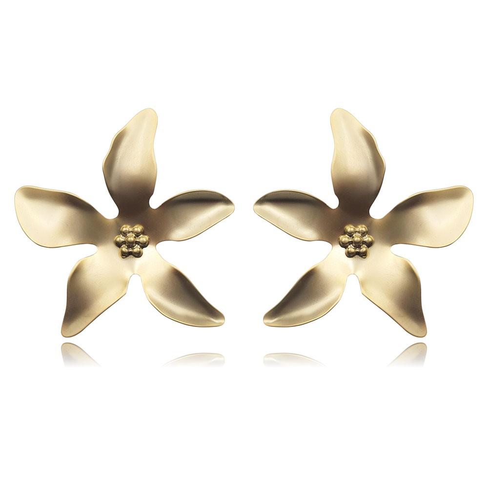 Brinco de Metal Flor Banhado à Ouro Fosco