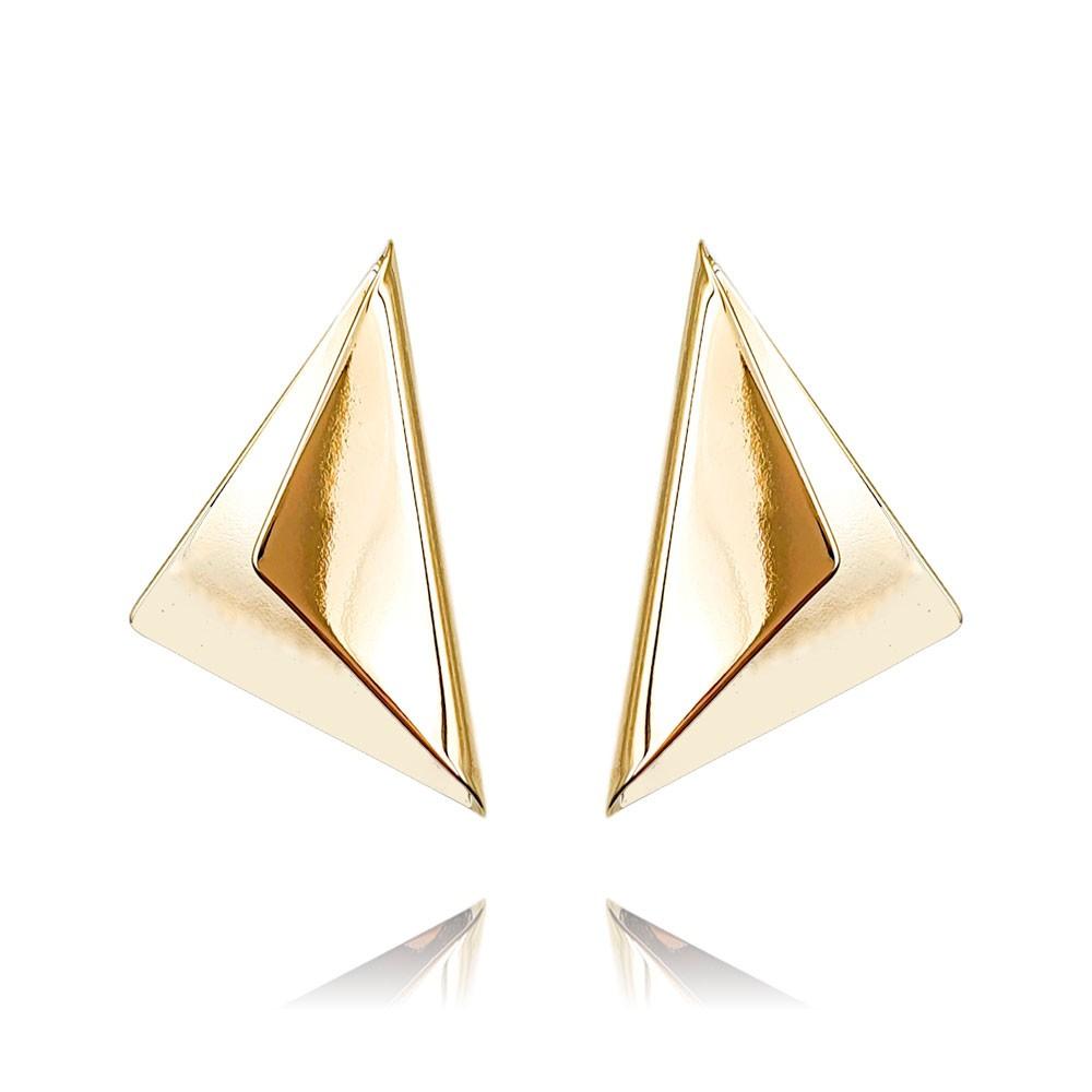 Brinco de Metal Triangular Banhado à Ouro