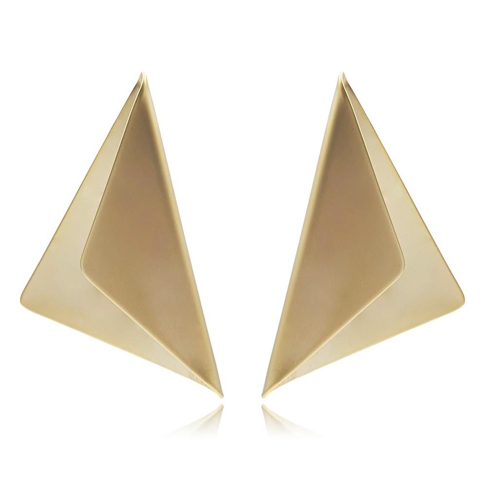 Brinco de Metal Triangular Banhado à Ouro Fosco