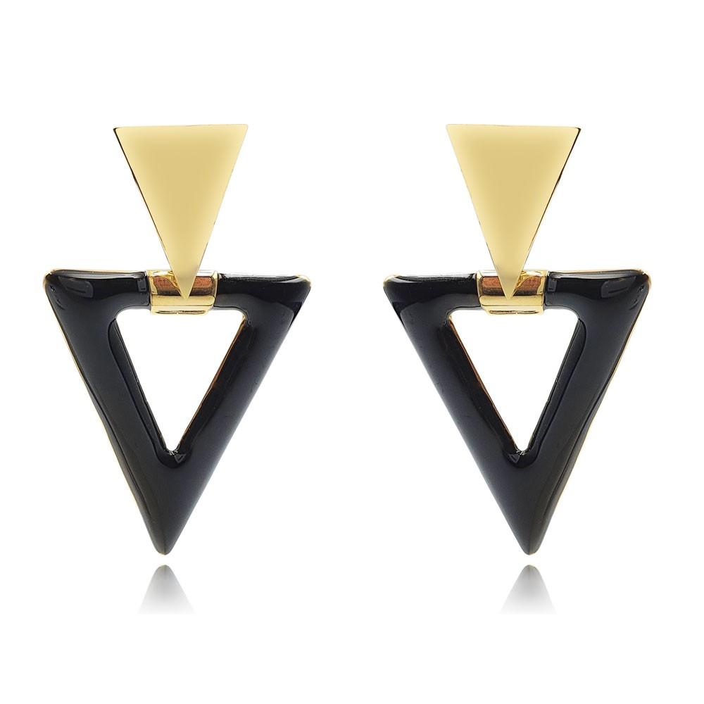 Brinco de Metal Triangular Esmaltado Preto Banhado à Ouro