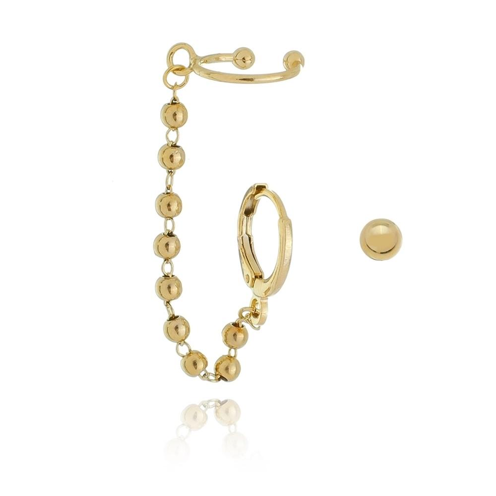 Brinco Ear Cuff Metal Bolinhas Banhado à Ouro