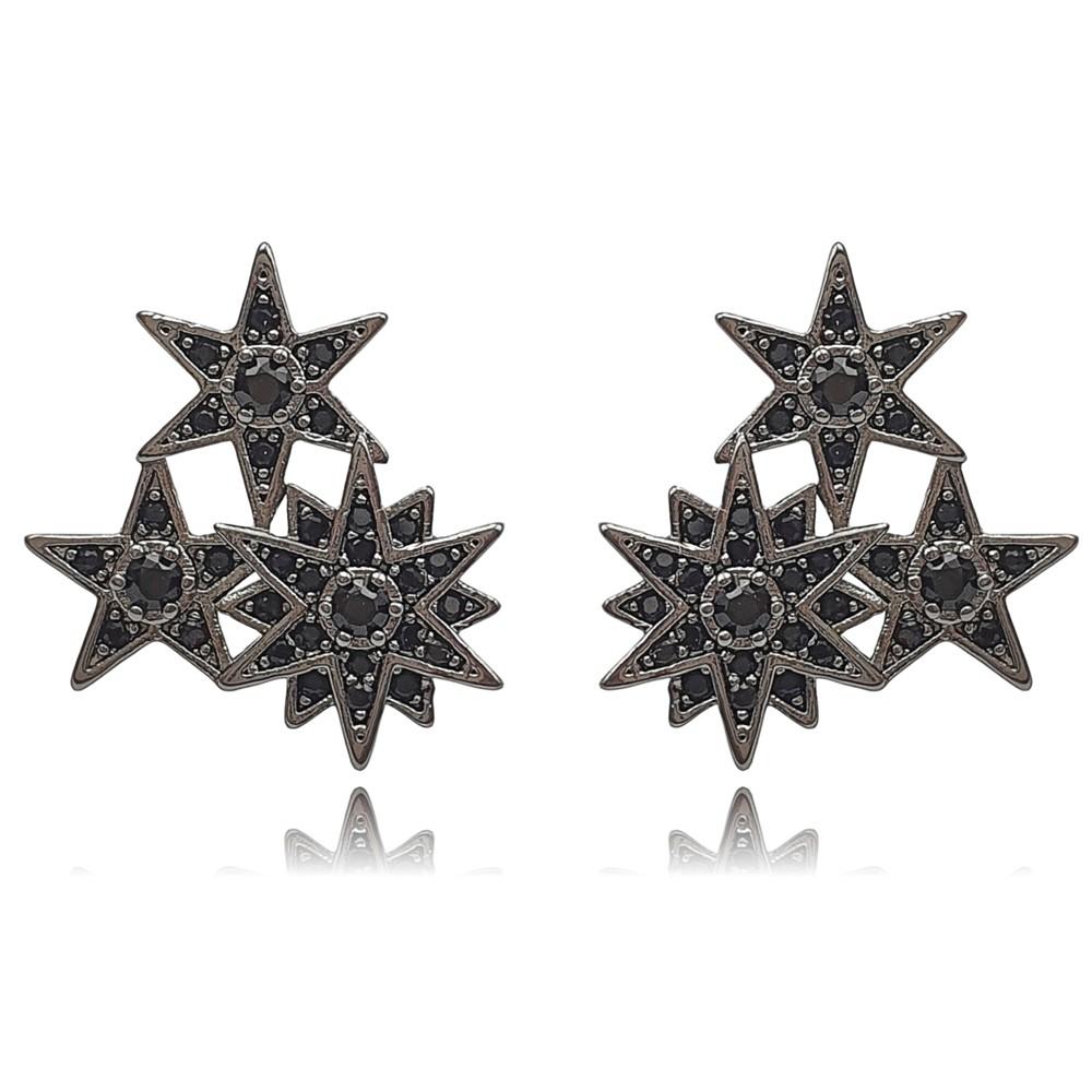 Brinco Zircônia 3 Estrelas Ródio Negro