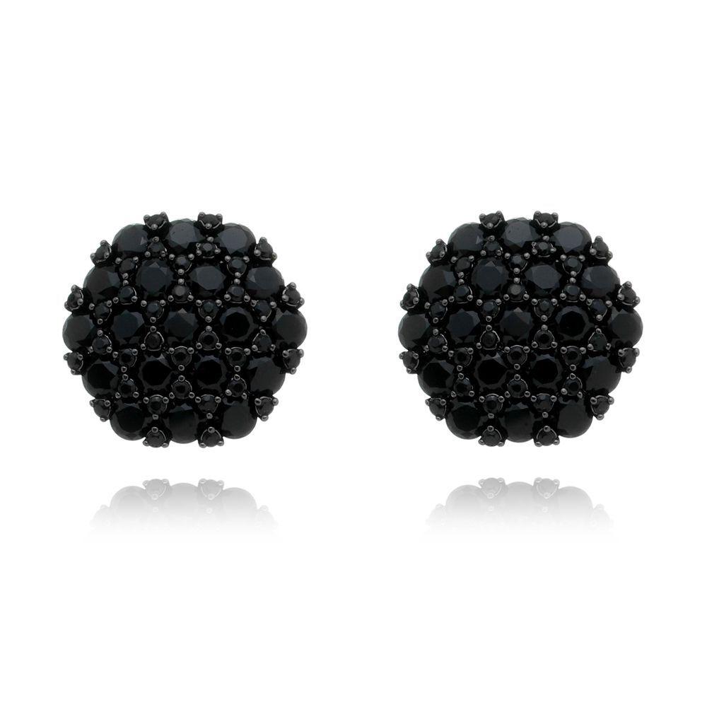 Brinco Zircônia Botão Ródio Negro