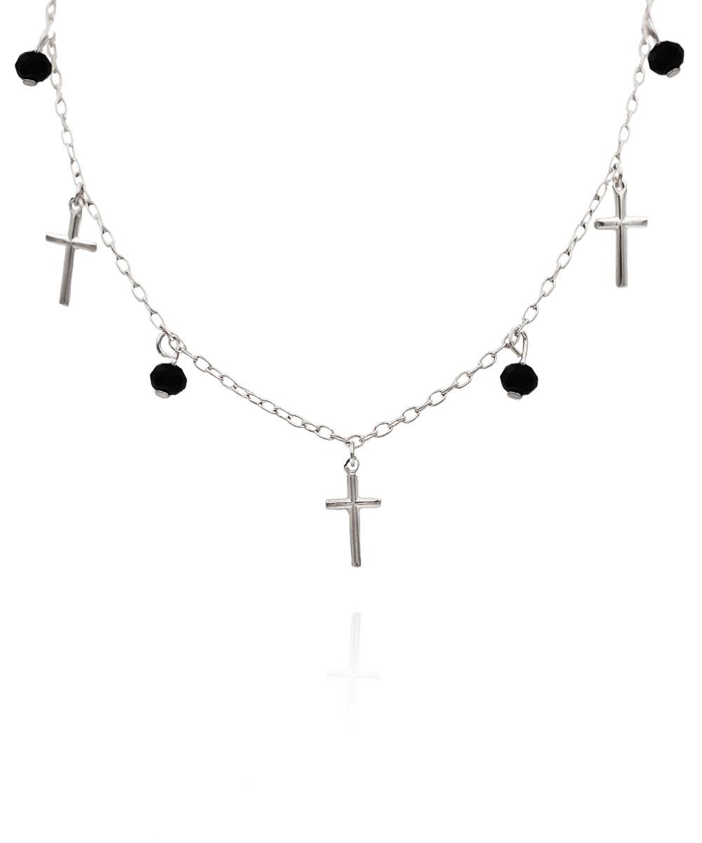 Choker Crucifixos Cristais Preto Ródio Branco