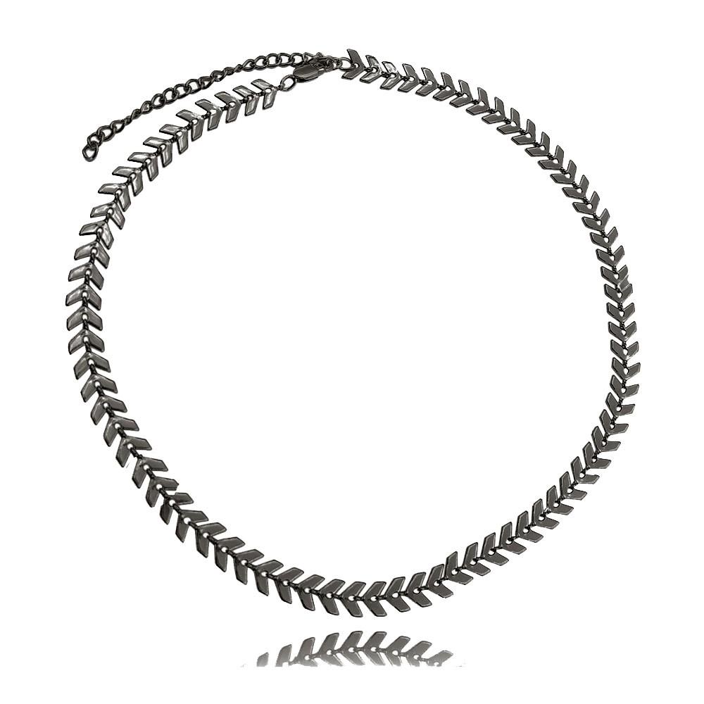 Choker Metal Escama Ródio Negro