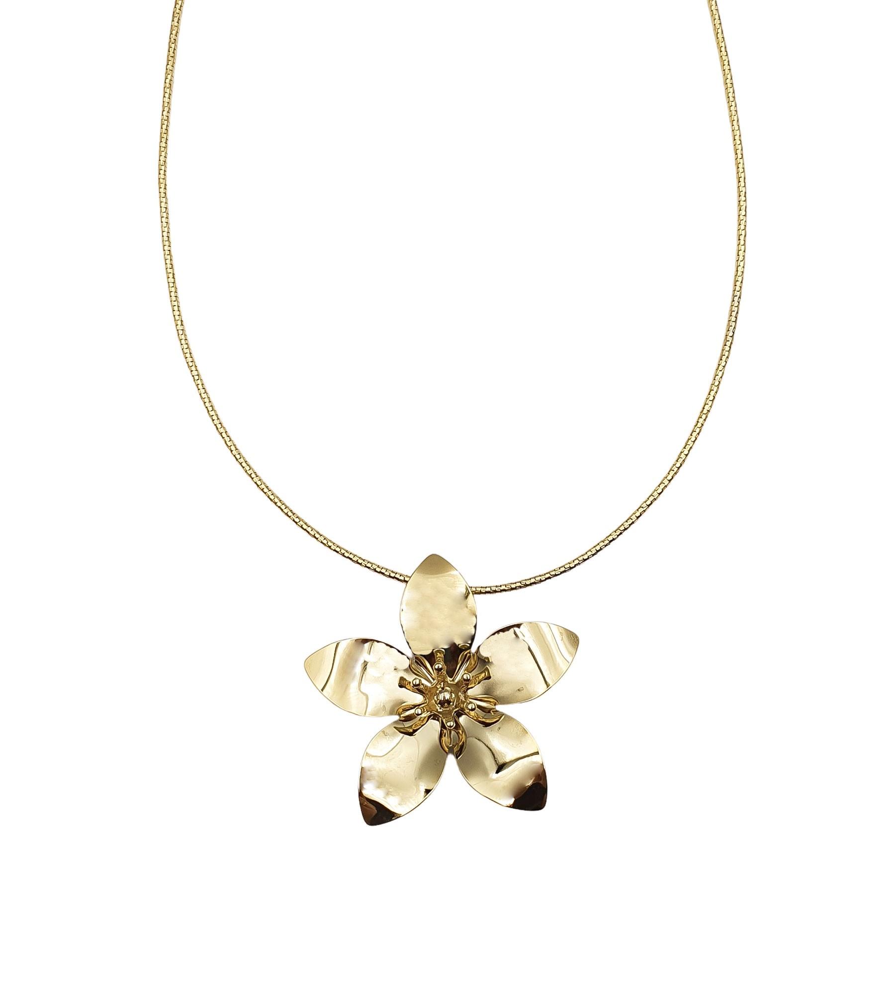 Colar de Metal Flor Banhado à Ouro