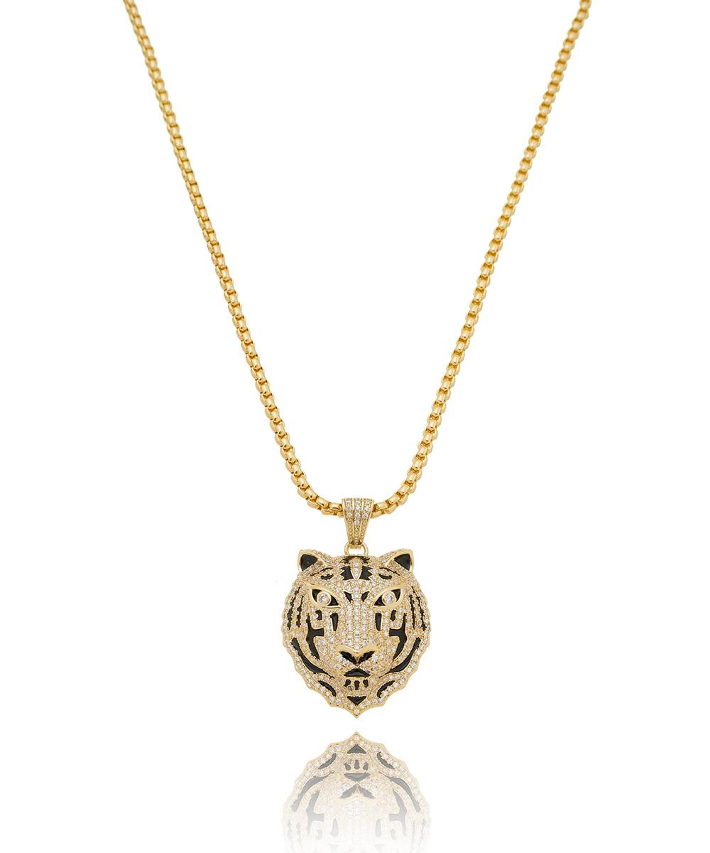 Colar de Zircônia Tigre Banhado à Ouro